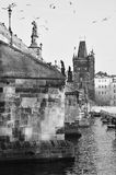 Old town bridge tower view in Prague city Stock Images