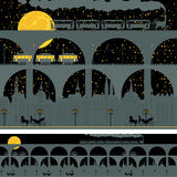Old town with bridges. Seamless ornament with an old town with bridges and retro transport in night stock illustration