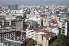 Old town Bucharest. BUCHAREST, ROMANIA - October 29, 2018: Communist blocks of flats in Bucharest seen from above royalty free stock photography