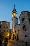 Old town of Budva in Montenegro at sunset Royalty Free Stock Photos