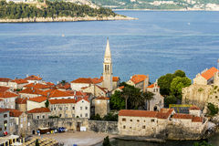 Old town of Budva in Montenegro at sunset Royalty Free Stock Photo