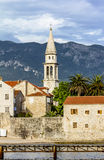 Old town of Budva in Montenegro at sunset Stock Photos