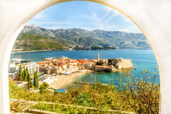 The old town of Budva in Montenegro, view from the above the top Royalty Free Stock Images