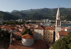 Old town in Budva, Montenegro. View on Budva old town from the Citadel Royalty Free Stock Photography