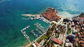 The Old Town of Budva, shooting with air drone. Montenegro