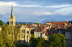 Old town buildings in Bern. Stock Photo