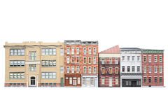 Old town buildings isolted on white background. 3d illustration Royalty Free Stock Photo