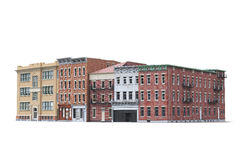 Old town buildings isolted on white background. 3d illustration Stock Photos