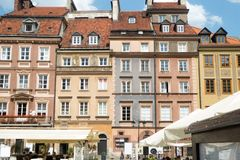 Old town buildings in Warsaw Poland. Colorful building facades mark the old and restored town center of Warsaw Poland stock images