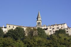 Old town in Buzet, Istria Croatia. On top of the hill, known for the best truffles in the world stock images