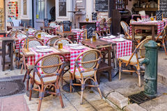 Old town cafe in France Stock Images