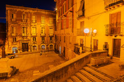 Old Town of Cagliari (Capital of Sardinia, Italy) at night Royalty Free Stock Images