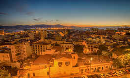 Old Town of Cagliari (Capital of Sardinia, Italy) in the sunset Royalty Free Stock Photography