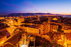 Old Town of Cagliari (Capital of Sardinia, Italy) in the sunset Stock Photos