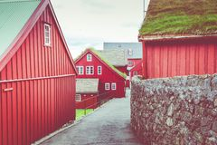 Old town of capital city of Torshavn. Typical houses with peat roof  grass roof . Faroes Islands. Denmark. Europe