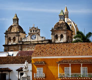 Old Town Cartagena, Columbia. Colorful colonial architecture of Customs Square (Plaza de la Aduana) , formerly Colon Square, in Cartagena, Columbia, South royalty free stock photo