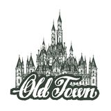 Old town. Cartoon hand drawing houses Royalty Free Stock Photos