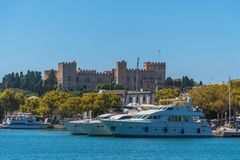 Old town castle in Rhodes city royalty free stock image