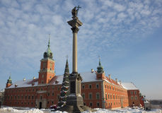 Old town castle square, Warsaw, Poland at christmas under snow Royalty Free Stock Photos