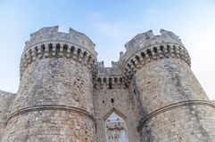 Old town castle two tower of Greek Rhodes old medieval castle royalty free stock photography
