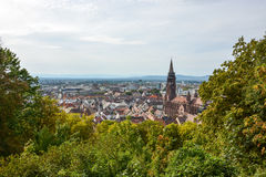 The old town and cathedral of Freiburg, Germany. From a hill Royalty Free Stock Images