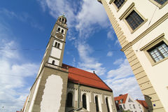 Old town center of Augsburg with St. Peter Royalty Free Stock Photo