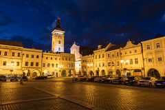 Old town of Ceske Budejovice at night, Budweis, Budvar, S Stock Photography