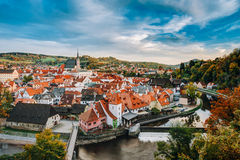 Old town Cesky Krumlov in Czech republic. Autumn Royalty Free Stock Photography