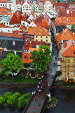 Old town of Cesky Krumlov, UNESCO site in Czech Republic in cloudy day Royalty Free Stock Photos