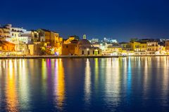 Old town of Chania city at night, Crete Stock Image