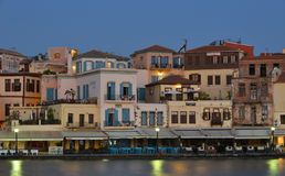 Old town at Chania harbor , Crete, Greece Royalty Free Stock Photos
