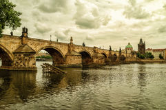 The Old Town with Charles Bridge over Vltava river Stock Photos