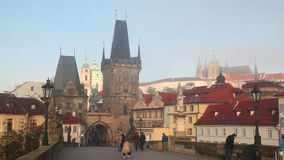 The Old Town with Charles bridge in Prague stock video footage