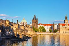 The Old Town Charles bridge tower in Prague. In the evening royalty free stock photo