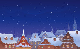 Old town Christmas. Iillustration of a snow-covered old towns roofs Royalty Free Stock Image