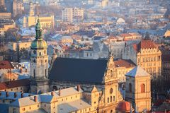 Old town with a church in the center, Lviv city, Ukraine. Bell Tower of the Bernardine Monastery. Lviv Bird-eye view royalty free stock photography