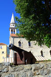 Old Town church and gun,Budva, Montenegro Stock Photo