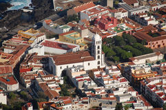 Old Town with Church, Tenerife. Images shows an old town on Tenerife, Canary Islands. A white church in the middle and houses around Stock Photography