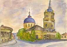 Old town church. Watercolor Stock Image