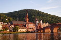 Old town and city bridge in Heidelberg Stock Image
