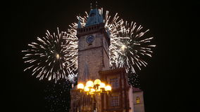 Old Town City Hall and holiday fireworks  in Prague, view from Old Town Square, Czech Republic stock footage