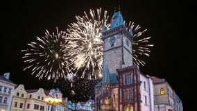 Old Town City Hall and holiday fireworks  in Prague, view from Old Town Square, Czech Republic stock video footage