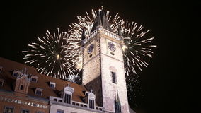 Old Town City Hall and holiday fireworks  in Prague, view from Old Town Square, Czech Republic stock video