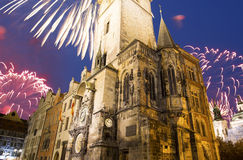 Old Town City Hall in Prague (Night view) and holiday fireworks, view from Old Town Square, Czech Republic Stock Photography