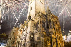 Old Town City Hall in Prague (Night view) and holiday fireworks, view from Old Town Square, Czech Republic Stock Photo