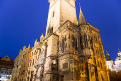 Old Town City Hall in Prague (Night view), view from Old Town Square, Czech Republic Royalty Free Stock Image