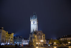 Old Town City Hall in Prague (Night view), view from Old Town Square, Czech Republic Royalty Free Stock Photography