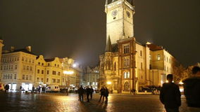 Old Town City Hall in Prague (Night view), view from Old Town Square, Czech Republic stock footage