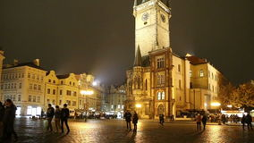 Old Town City Hall in Prague (Night view), view from Old Town Square, Czech Republic.  stock footage