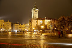 Old Town City Hall in Prague (Night view), view from Old Town Square, Czech Republic.  Royalty Free Stock Photos